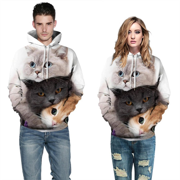 Mens Hoodies 3D Graphic Printed Three Cats Pullover Hoodie