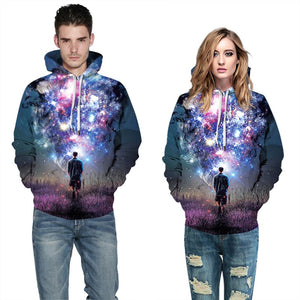Mens Hoodies 3D Graphic Printed Man in Fantasy Starry Sky Pullover Hoodie