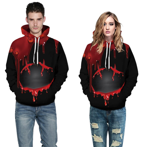 Mens Hoodies 3D Printed Halloween Drop Blood Printing Pullover Sweatshirts