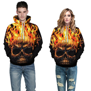 Mens Hoodies 3D Printed Fire Skull Pattern Printing Halloween Hoodies