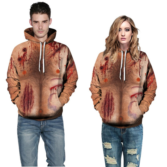 Mens Hoodies 3D Printed Gunshot Wound Top Costume Hoodies
