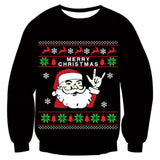 Mens Womens Black Funny Christmas Santa Claus Sweater
