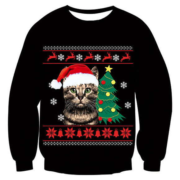 Mens Womens Funny Christmas Cat Sweater