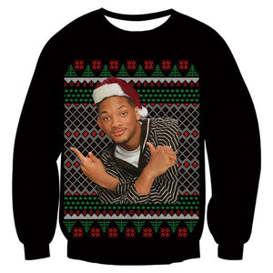 Mens Womens Funny Christmas Black Sweater