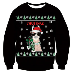 Mens Womens Funny Christmas Dog Black Sweater
