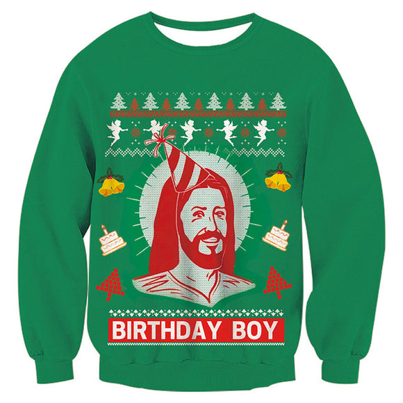 Mens Womens Green Funny Christmas Sweater