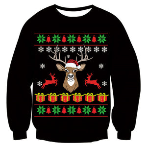 Mens Womens Black Funny Deer Christmas Sweater