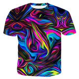 Mens 3D Printing T Shirt Colorful Pattern Shirt
