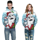Mens Hoodies 3D Graphic Printed Old Christmas Snowman Pullover