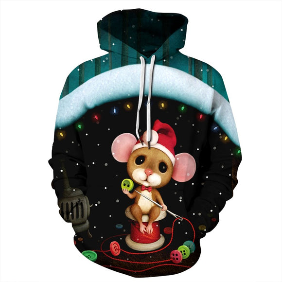 Mens Hoodies 3D Graphic Printed Christmas Sewing Bear Pullover