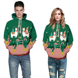 Mens Hoodies 3D Graphic Printed Christmas Antelope Green Pullover