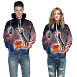 Mens Hoodies 3D Graphic Printed Galaxy Pizza Cat Pullover