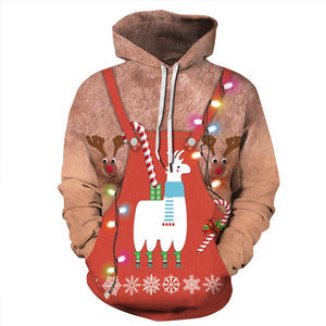 Mens Hoodies 3D Graphic Printed Ugly Christmas Chest Muscle Pullover