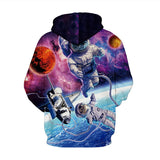 Mens Hoodies 3D Graphic Printed Christmas Alien Cat Pullover