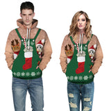 Mens Hoodies 3D Graphic Printed Ugly Christmas Cat Dog Apron Decoration Pullover
