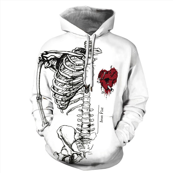 Mens Hoodies 3D Graphic Printed Ugly Christmas Skeleton Pullover