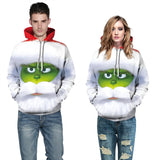 Mens Hoodies 3D Graphic Printed The Grinch Movie White Pullover