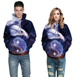 Mens Hoodies 3D Graphic Printed Space Eagle Pullover Hoodie