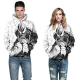 Mens Hoodies 3D Graphic Printed Venom White Pullover Hoodie