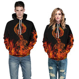 Mens Hoodies 3D Graphic Printed Phoenix in Fire Pullover Hoodie