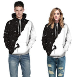 Mens Hoodies 3D Graphic Printed Black White Starry Sky Pullover Hoodie