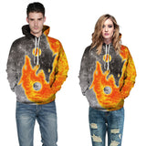 Mens Hoodies 3D Graphic Printed Two Wolves Pullover Hoodie