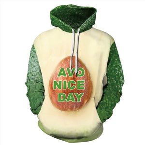 Mens Hoodies 3D Graphic Printed Avocado Pattern Pullover Hoodie