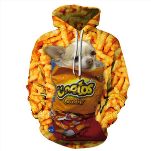 Mens Hoodies 3D Graphic Printed Cheetos French Fries Pullover