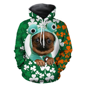 Mens Hoodies 3D Graphic Printed Four-leaf Clover Pullover
