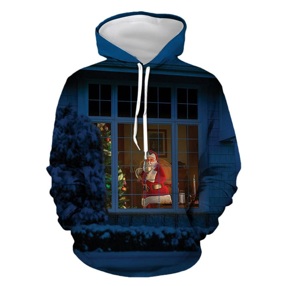 Mens Hoodies 3D Graphic Printed Christmas Santa Claus Pullover Hoodie
