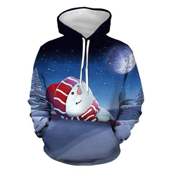 Mens Hoodies 3D Graphic Printed Christmas Lovely Snowman Pullover Hoodie