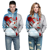 Mens Hoodies 3D Graphic Printed Christmas Kawaii Snowman Pullover Hoodie