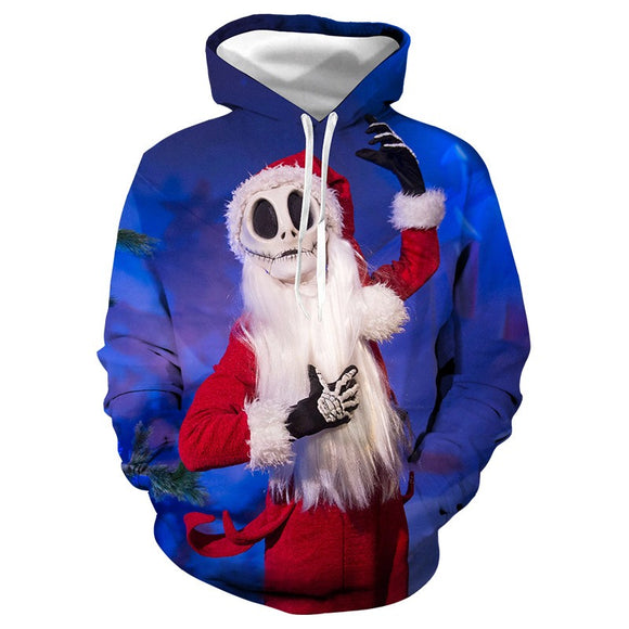 Mens Hoodies 3D Graphic Printed Ugly Christmas Blue Pullover Hoodie