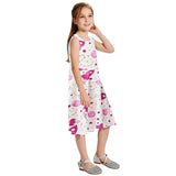 Girls Summer Dress Sky Spaceship Sleeveless Casual Dress