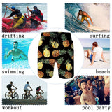 RAISEVERN Black Pineapple Tropical Hawaiian Beach Board Shorts