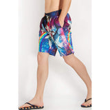 Raisevern Galaxy Cat Riding Rainbow Shark Beach Board Shorts