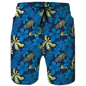 Raisevern Tropical Leaves Floral Pineapple Beach Board Shorts