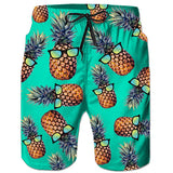 RAISEVERN Green Pineapple Glass Tropical Hawaiian Beach Board Shorts