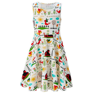 Girls Summer Dress Farm Sleeveless Casual Dress