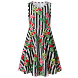 Girls Summer Dress Striped Flamingo Sleeveless Casual Dress