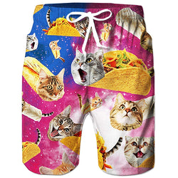 1b81691857 Raisevern Galaxy Burrito Taco Pizza Cat Beach Board Shorts