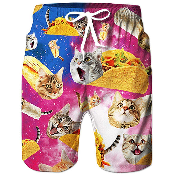 Raisevern Galaxy Burrito Taco Pizza Cat Beach Board Shorts