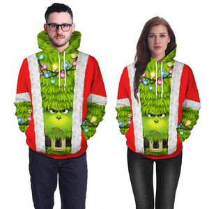 Mens Red Hoodies 3D Graphic Printed The Grinch Movie Pullover