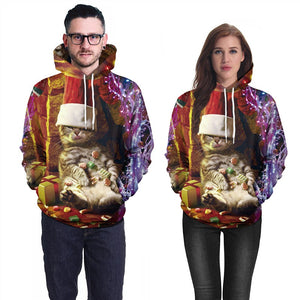 Mens Hoodies 3D Graphic Printed Merry Christmas Lazy Cat Pullover
