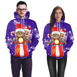 Mens Purple Hoodies 3D Graphic Printed Merry Christmas 2Pcs Cat Pullover