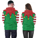 Mens Green Hoodies 3D Graphic Printed Merry Christmas Stripe Pullover