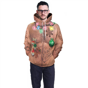 Mens Red Hoodies 3D Graphic Printed Merry Christmas Ugly Chest Pullover