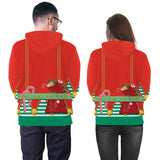 Mens Red Hoodies 3D Graphic Printed Merry Christmas Sheep Pattern Pullover