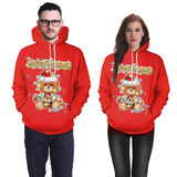2019 Mens Red Hoodies 3D Graphic Printed Merry Christmas Little Bear Pullover