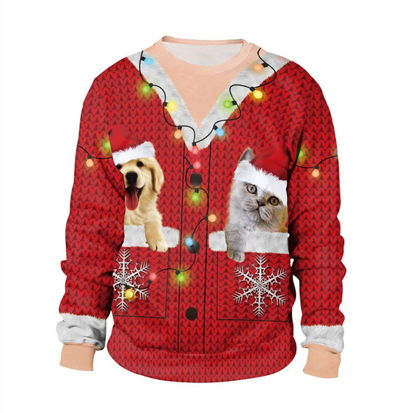Mens Red Pullover Sweatshirt 3D Graphic Printing Christmas Dog Cat Pattern